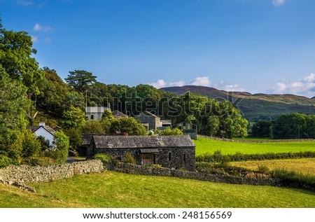 Stone barn in Cumbria - stock photo
