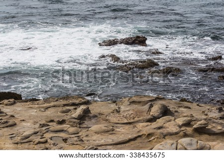Stone beach at La Jolla Cove in San Diego, California, The United States of America