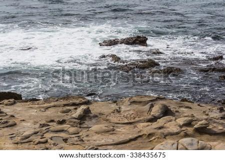 Stone beach at La Jolla Cove in San Diego, California, The United States of America - stock photo