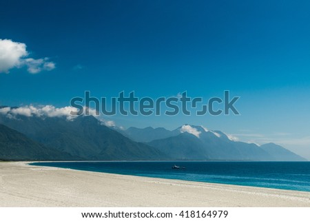 Stone beach Chihsingtan Beach, Hualien, Taiwan - stock photo