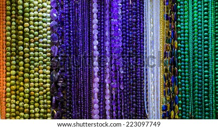 Stone beads necklace jewelry collection - stock photo