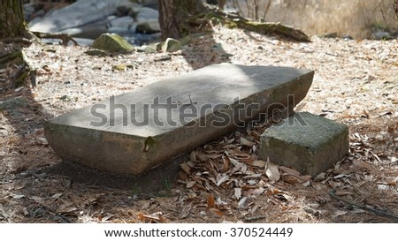 stone bench - stock photo