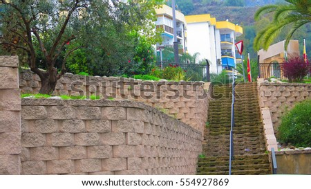 Stone block Retaining walls and steps in Alora Village, Andalusia