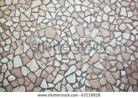 Stone block road pavement - stock photo