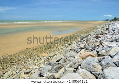 Stone breakwater - stock photo