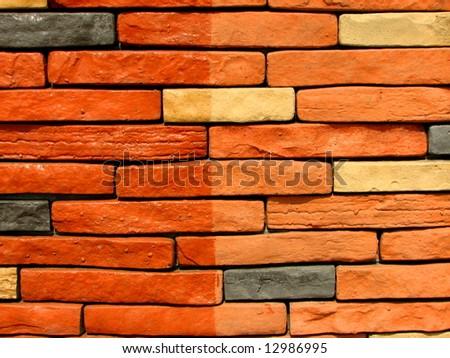 stone brick wall pattern 9 - stock photo