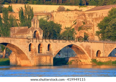 Stone bridge across the Rhone river, Avignon, Provence, France - stock photo