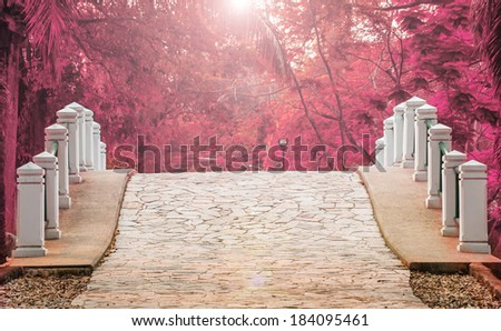 stone bridge in the garden colorful and light shining down on stone bridge  - stock photo
