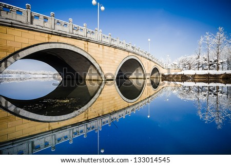 Stone bridge in the winter,China