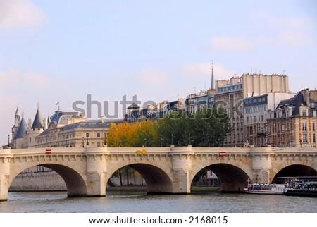 Stone bridge over Seine in Paris France - stock photo