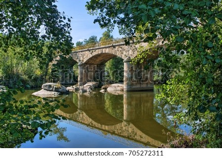 Stone bridge over Tamega river in Boticas, Portugal