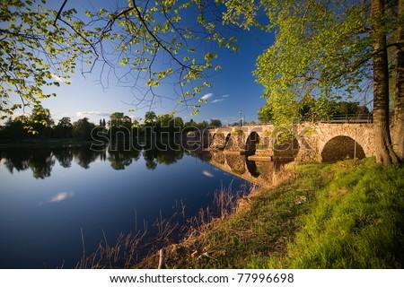 """Stone bridge """"stenbron"""" in Karlstad Sweden in the Summer - stock photo"""