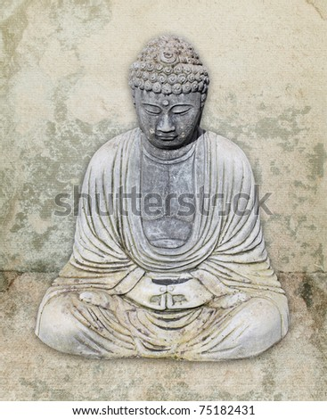 stone buddha against textured background - stock photo