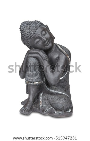 Stone buddha statue isolated over white with clipping path.