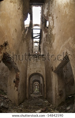 Stone building bricks and cement in ruins - stock photo