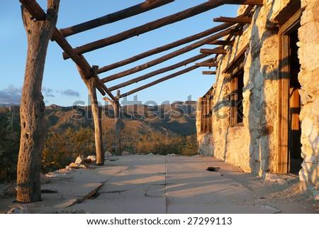 Stone building in the Arizona desert - stock photo