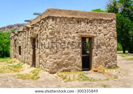 Stone Cabin at Big Bend National Park - stock photo