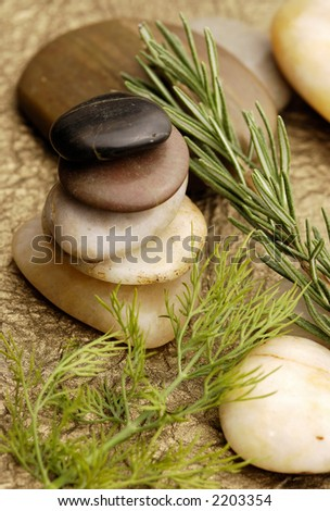 Stone Cairn with herbs - stock photo