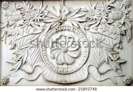 Stone carving sculpture, closeup - stock photo