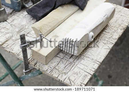 Stone carving tools, detail of some tools for working stone, art craft and manual - stock photo