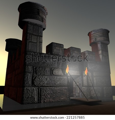 Stone castle with ditch, in darkness, 3d render - stock photo