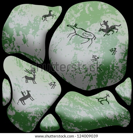 Stone cave art, hunting scenes depicted on stones - stock photo