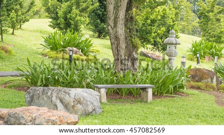 Stone chair,gray rock and brown rock in the garden