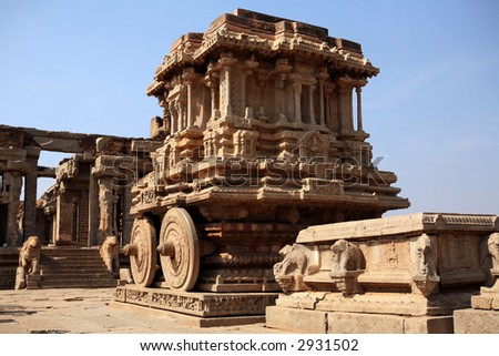 Stone chariot. Vittala temple. Hampi - UNESCO World Heritage Site. India - stock photo