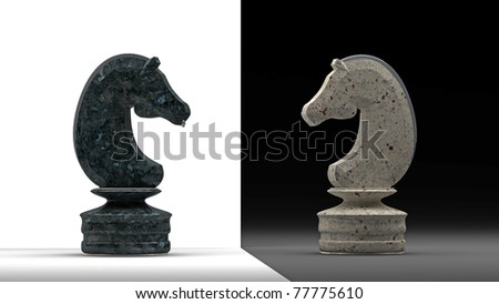 stone Chess horse isolated 3d render - stock photo