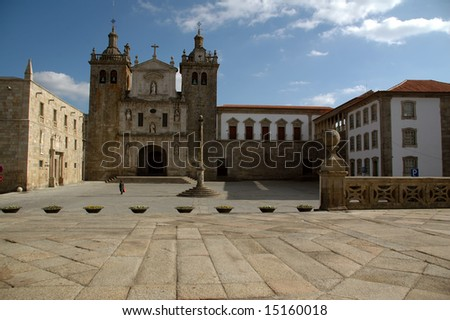 stone church in center of Viseu, Portugal - stock photo