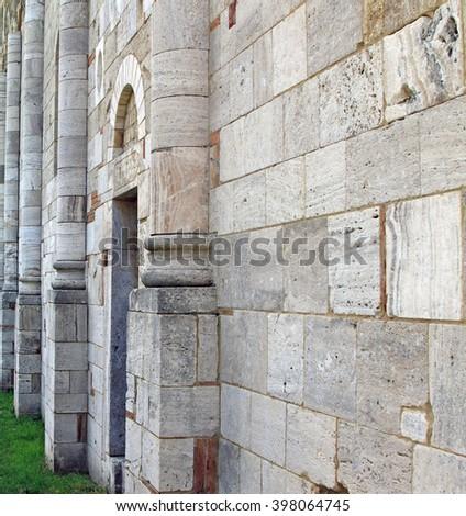 Stone church wall - stock photo