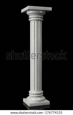 Stone Classic Greek Column on a black background