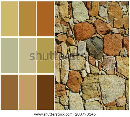 stone color chart palette sample with complimentary - stock photo