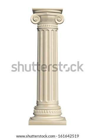 Stone column - isolated on white background, 3d render  - stock photo