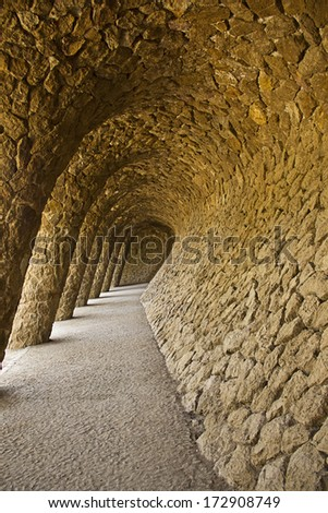Stone columns in Park Guell Barcelona - stock photo