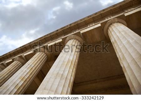 Stone columns of a Greek-Roman building in Bordeaux, France - stock photo