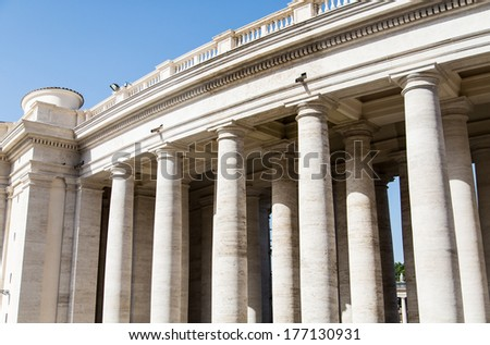 Stone columns on facade around Saint Peters Square in Vatican City