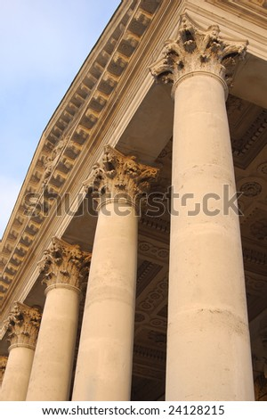 Stone columns on Saint Martin in the Fields church in London, England
