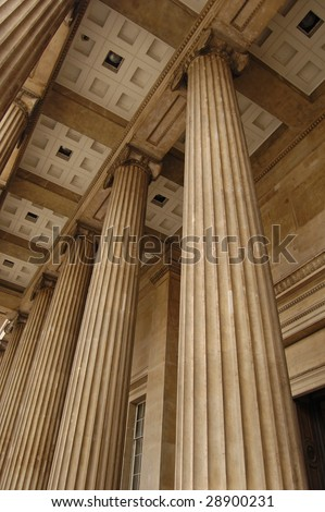 Stone columns on the facade of the British Museum in London, England