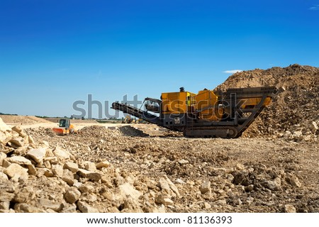 Stone crusher at the construction site