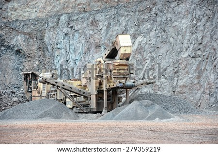 stone crusher in surface mine. hdr image - stock photo