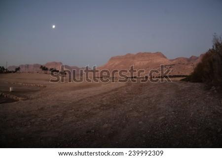 Stone Desert on the West Bank of the Jordan River  - stock photo