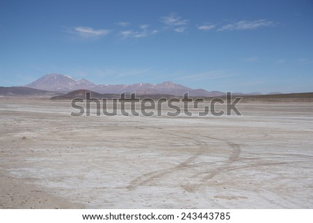 Stone desert with a trace of a car, Uyuni, Bolivia - stock photo
