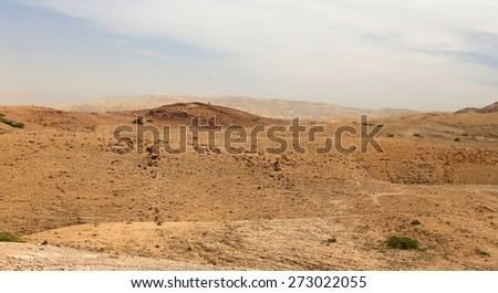 Stone desert with mountains, Jordan, Middle East