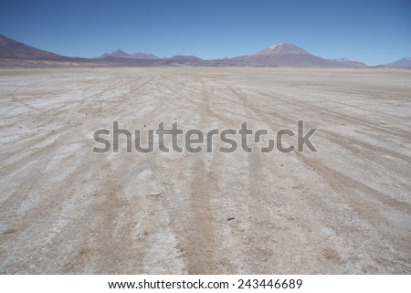 Stone deserted plain with car traces, Uyuni, Bolivia - stock photo
