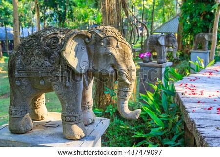 Stone Elephant Statue In The Garden