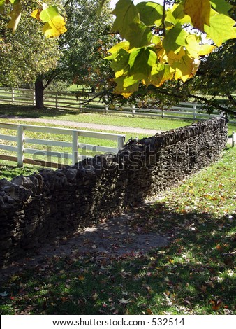 stone fence Shaker Village, Pleasant Hill, Kentucky - stock photo
