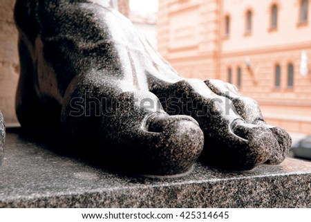Stone finger from statue - St.Petersburg, Russia - stock photo