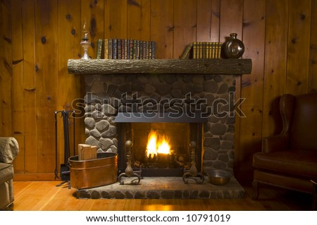 stone fireplace with books on the mantel and the fire blazing inside with natural light