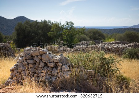 Stone formations along the Lycian Way. One of the worlds longest marked trails. Turkey, near Kas - stock photo